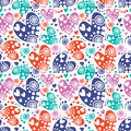 Seamless Vector Pattern With Hearts. Background With Colorful Hand Drawn Ornamental Symbols And Decorative Elements On The White. Stock Images - 71693014