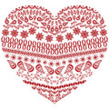 Tribal Zentangle Aztec Heart Shape With Floral Elements In Hand Drawing Lace Ornamental Style In Red And White Style Stock Images - 71715524