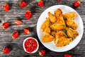 Fried Chicken Wings With Strawberry Sauce, Top View Royalty Free Stock Image - 71716746