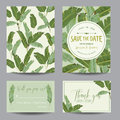 Save The Date Card. Tropical Banana Leaves. Wedding Card Stock Photography - 71721662