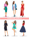 Stylish Fashion Girls With Accessories. Fashion Women S Clothes. Beautiful Girls Set. Royalty Free Stock Images - 71725699