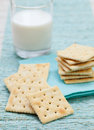 Square Biscuit Cracker With Fresh Milk In Glass Royalty Free Stock Images - 71734359