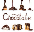On Cookies, Chocolate, Nuts Pouring Stream Royalty Free Stock Images - 71751079