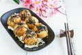 Close Up Of Takoyaki On Wooden Table With Chopsticks Royalty Free Stock Image - 71754196
