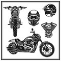 Motorcycle Front View And Side View Engine, Helmets Quality  Set Stock Photo - 71757380