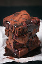 Homemade Chocolate Sweet Brownies Cakes With Cherry And Chocolate Sauce Or Syrup On A Dark Background, Horizontal Royalty Free Stock Image - 71760236
