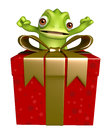 Fun Chameleon Cartoon Character With Gift Box Royalty Free Stock Photography - 71761017