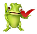 Chameleon Cartoon Character With Right Sign Royalty Free Stock Photography - 71761227