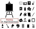 Set Of 24  Artist Icons Stock Image - 71798541