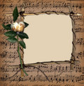 Grunge Frame With Old Rose On The Music Background Royalty Free Stock Photography - 7188107