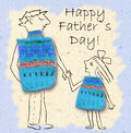 Father And Daughter On A Walk, Happy And Smiling To Each Other. Happy Father S Day, Illustration With Dad And Daughter Stock Image - 71809351