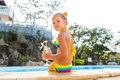 Cute Girl At The Pool Stock Photography - 71810372