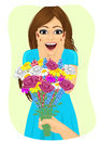 Surprised Young Woman Receiving Bouquet Of Wild Flowers On A Date From Men S Hand Royalty Free Stock Photos - 71819138