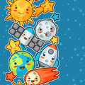 Kawaii Space Seamless Pattern. Doodles With Pretty Facial Expression. Illustration Of Cartoon Sun, Earth, Moon, Rocket Stock Photography - 71843572