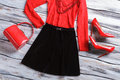 Black Skirt And Red Bag. Royalty Free Stock Photos - 71845248