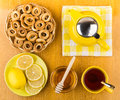 Tea With Honey And Lemon, Bagels In Wicker Basket Stock Image - 71845711