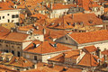 Top View Of The  Tile Roofs And The Sea In The Italian Style In Dubrovnik, Croatia Stock Photography - 71850092