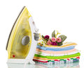 Steam Iron And Colored Cotton Towels Isolated On White. Stock Photography - 71862002