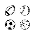 Four Simple Black Icons Of Balls For Rugby, Soccer, Basketball And Baseball Sport Games, Isolated On White Stock Photos - 71864763