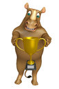 Rhino Cartoon Character With Winning Cup Royalty Free Stock Image - 71873286
