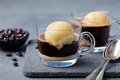 Affogato Coffee With Ice Cream On A Glass Cup Royalty Free Stock Photos - 71874528