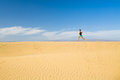 Woman Barefoot Running On Sand Desert Dunes Royalty Free Stock Photos - 71878758