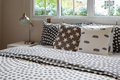 Bedroom Interior With Polka Dot Pillows On Bed And Decora Stock Image - 71887861