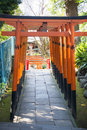 UENO, JAPAN - FEBRUARY 19, 2016 : Torii Doors Tunnel Gate To Goj Royalty Free Stock Photography - 71900787