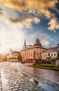 Central Square In Kosice With Tram Rails After Rain Royalty Free Stock Photo - 71903495