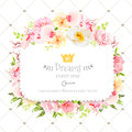 Square Floral Vector Design Frame. Orchid, Wild Rose, Camellia Flowers And Fresh Green Leaves Stock Image - 71904911