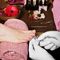 Closeup Finger Nail Care By Pedicure Specialist In Beauty Salon. Stock Image - 71905861