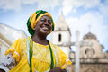 Brazilian Woman Of African Descent Wearing Traditional Clothes From The State Of Bahia In The Old Colonial District Of Salvador Royalty Free Stock Image - 71907986