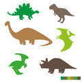 Cute Dinosaurs Silhouettes Set. Collection Of Dino Royalty Free Stock Photos - 71911368