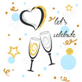 Champagne Glasses With Sparkling Hearts, Stars And Dots. Celebration Background Royalty Free Stock Image - 71911376