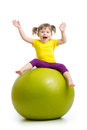 Kid Girl Doing Gymnastics With Ball Isolated On White Background Stock Image - 71919201