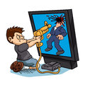 Angry Boy Playing A Video Game Royalty Free Stock Photos - 71924548