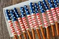 Group Of Fourth Of July American Flag Pretzel Rods Stock Photo - 71931110
