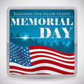 Graveyard View Button For Memorial Day Commemoration, Vector Illustration Royalty Free Stock Photo - 71938175