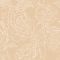 Light Beige Background With Outline Hand Drawn Rose Flowers. Vector Floral Seamless Pattern Royalty Free Stock Images - 71948759