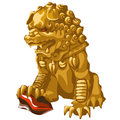 Golden Lion Statue With Red Eyes In An Asian Style Stock Images - 71949034