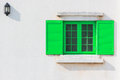 Colorful Green Window And Detail Of House Exterior. Stock Images - 71958904