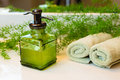 Pump Bottle With Liquid Soap, Towels And Greens On Bathroom Coun Stock Images - 71976784