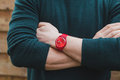 Close Up Of Man S Hands With Watch Stock Image - 71981011