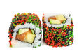 Uramaki Maki Sushi, Two Rolls Isolated On White Stock Image - 71990381