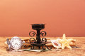 Old Map World, Parchment, Watches, Money, Candlestick On Red-orandevy. Stock Photography - 72002432