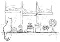 Windowsill With Home Love Objects And Cute Cat.Hand Drawn Sketch Stock Photos - 72003093