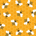 Bee With Honey. Seamless Pattern. Royalty Free Stock Photography - 72004567