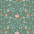 Oriental Flowers Pattern, Floral Ornament In Green Hues Stock Photos - 72005193