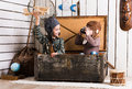 Sisters Playing With Wooden Plane Royalty Free Stock Photo - 72005645