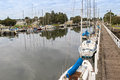 Boats, Yachts Mooring Along The Moyne River In Port Fairy In Vic Royalty Free Stock Images - 72012169